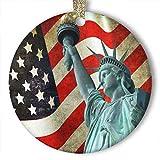 EaYanery - Adorno de cerámica, diseño de bandera de Estados Unidos de América (redondo)