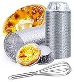 WJMY 200 PCS molde tartaleta aluminio moldes para tartas de huevo moldes de papel de aluminio con Batidor