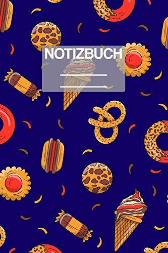 Notizbuch A5 Muster Süssiegkeiten Eis Bonbons Brezel Burger: • 111 Seiten • EXTRA Kalender 2020 • Einzigartig • Kariert • Karo • Raster • Geschenk • Geschenkidee