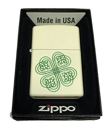 Zippo Custom Lighter - Celtic Shamrock Many Blessings - Regular Cream Matte