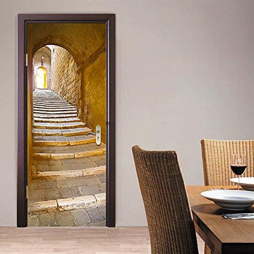 3D Tür Wandbild Türaufkleber Selbstklebende, PVC wasserdichte türaufkleber küche Tür Tapete Schlafzimmer Tür 3D-Aufkleber und dekorative Wand-Abziehbilder für Schlafzimmer 77cm * 200cm