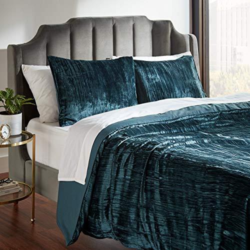 Amazon Brand – Rivet Modern Wrinkled Velvet Duvet and Sham Set - Full or Queen, 90 x 90 Inch, Teal