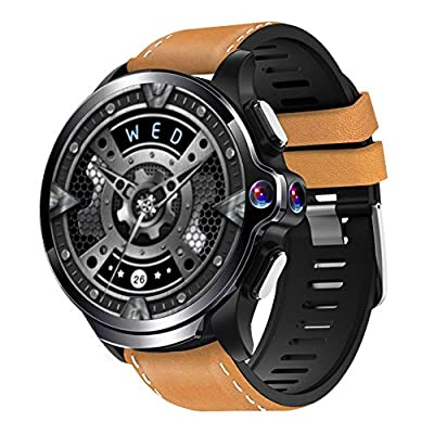 Allcall GT 4G Smart Watch Phone Big Battery Face Unlock Life Waterproof GPS Dual Cameras 1.6''Round Display Long Battery Big Memory 3GB RAM 32GB ROM 24h Heart Rate Monitor(Ceramic Bezel) (Brown)