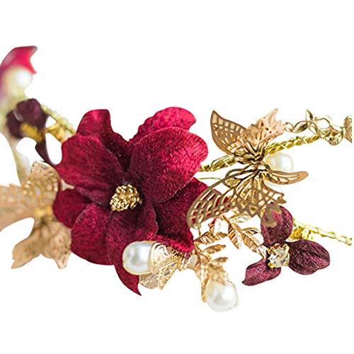Yue668 Pince à Cheveux Fleur Rouge, Accessoires pour Cheveux De Mariée, Femmes Fleurs Rouges Accessoires De Cheveux De Mariage Nuptiale