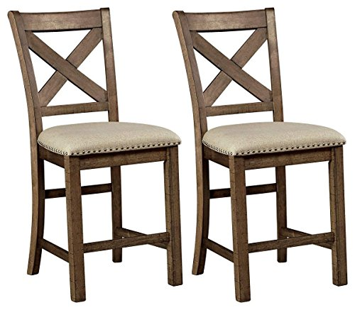 Signature Design by Ashley - Moriville Dining Barstools - Set of 2 - Pub Height - Casual Style - Gray/Brown