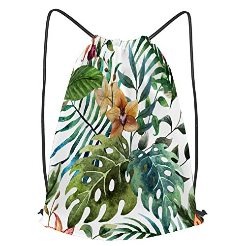 fudin Impermeable Bolsa de Cuerdas Saco de Gimnasio papel tapiz tropical de orquídeas Deporte Mochila para Playa Viaje Natación