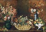 AMANUO Pierre-Auguste Renoir Impresiones Pinturas Famosas sobre Lienzo Naturaleza Muerta 90X65 cm Cuadros Enrollada - Naturaleza Muerta Con Flores Y Frutas