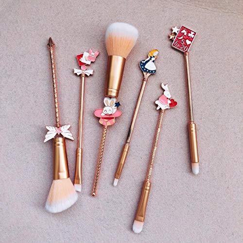 Ensembles De Pinceaux De Maquillage 6Pcs Pour Le Maquillage En Métal, Miroir 6Pcs
