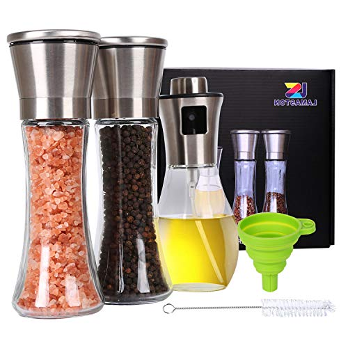 Salt and Pepper Grinder Set Oil Sprayer for Cooking Stainless Steel Pepper Mill Shaker Tall Salt and Pepper Grinder Adjustable Coarseness with Silicone Funnel Cleaning Bottle Brush for Home Chef-5Pack