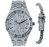 Men's | Iced Out | CZ Stud Bezel | Set | Heavy | Octagon Shaped | Hip Hop | Rappers | Luxury Dial | Adjustable Link | Simulated Diamonds | Watch | Stainless Steel Franco | Ice Busted Lock Bracelet