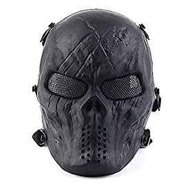 PuddingStation Full Face Airsoft Mask with Metal Mesh Eye Protection, for Tactical CS Survival Games, Paintball BBS…