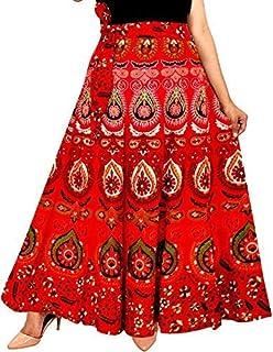Modern Kart Women's Cotton Jaipuri Print Wrap-Around Skirt Red