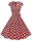 MuaDress MUA1960 Robe Vintage Rockabilly Femme années 50 Rétro Robe Swing Evasée au Genou Col Coeur Manche Mini Manche Rouge À Pois Blanc B XL