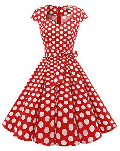 MuaDress 1960 Kurz 50er Vintage Rockabilly Cocktailkleid Cap Ärmeln Retro Faltenrock Rot groß Weiß Punkte XXXL