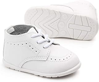Meckior Infant Baby Boys Girls Classic PU Leather Wedding Loafers Brogue Toddler Oxford Dress Shoes First Steps Walking Flat Lazy Crib Shoe