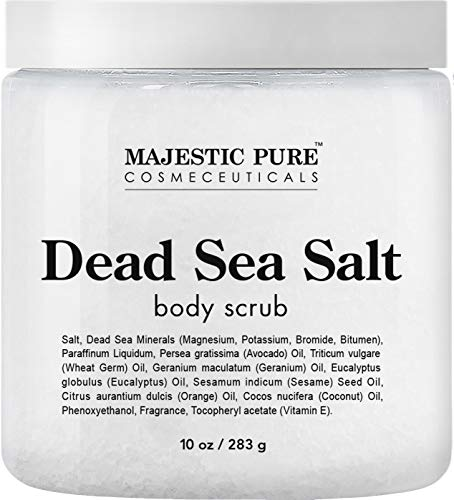 Dead Sea Salt Body Scrub by Majestic Pure - Infused with Aromatic Oils Exfoliates and Helps Conceal Stretch
