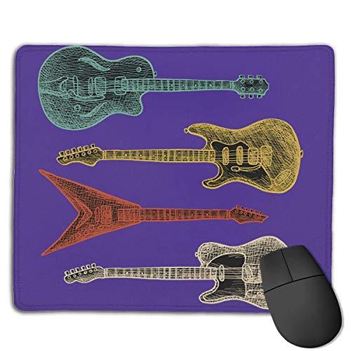 Mousepads Für Computer,Büro Mausmatte,Spiel Mauspad,Matte Mit Genähten Kanten,Distressed Vintage E-Gitarren Grafik Retro Bassgitarre Mousepad Für Laptop, Desktop-Computer