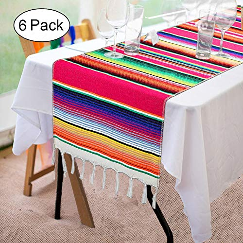 Fowecelt 6 Pack Mexican Serape Table Runner 14 x 84 Inch for Mexican Party Wedding Decorations Outdoor Picnics Dining Table, Fringe Cotton Handwoven Table Runners