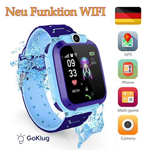 Smartwatch Kinder Tracker Kinderuhr Junge Digital Smart Watch Kinder GPS Uhr Kinder Telefonieren Smartwatch Kinder Telefon Wasserdicht Deutsch Kinder Handyuhr mit Ortung BLAU IP68