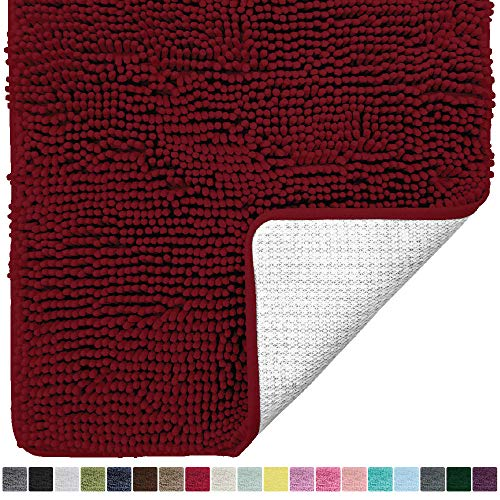 Gorilla Grip Original Luxury Chenille Bathroom Rug Mat, 24x17, Extra Soft and Absorbent Shaggy Rugs, Machine Wash Dry, Perfect Plush Carpet Mats for Tub, Shower, and Bath Room, Burgundy
