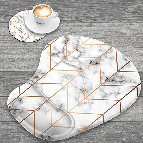 Ergonomic Mouse Pad with Wrist Support and Cup Coaster,Black White Marble Stripe Non-Slip PU Base Ergonomic Design to Protect Your Wrist for Home Office Working Studying Easy Typing & Pain Relief