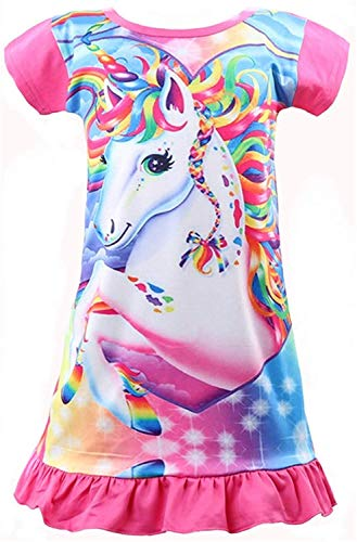 Rswsp Unicorn Printed Toddler Girls Rainbow Nightshirt Casual Nightie Princess Night Dresses (Big Eyes-Hot Pink, XL(6X))