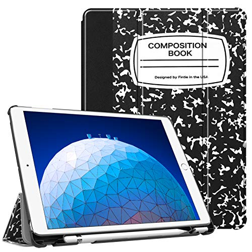 Fintie Case for iPad Air (3rd Gen) 10.5 2019 / iPad Pro 10.5 2017 - [SlimShell] Ultra Lightweight Standing Protective Cover with Built-in Pencil Holder, Auto Wake/Sleep (Composition Book)