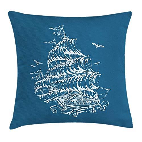 Blauwe en witte kussensloop, kunstschets van een fregat antiek zeilschip op golven vliegende vogels, decoratieve vierkante accent kussensloop, 18 X 18 inch, blauw en wit