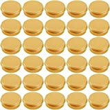 Hulless 30 Pcs 0.5 Ounce Aluminum Tin Jar Refillable Containers 15 ml Aluminum Screw Lid Round Tin Container Bottle for Cosmetic, Lip Balm, Cream, Gold
