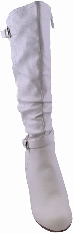 Womens Dress Heeled High Boots WHITE
