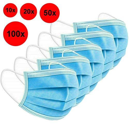 Atemschutz Maske 3-lagig Mund-Nasen-Schutz Gesichtsmaske Mundschutz Behelfsmaske - 100 St.