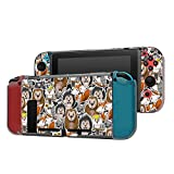Dockable Case Compatible with Nintendo Switch Console and Joy-Con Controller, Patterned ( Forest Animals Wallpaper ) Protective Case Cover with Tempered Glass Screen
