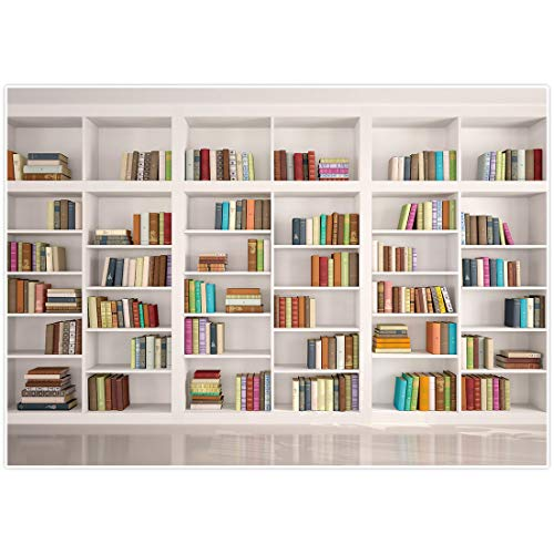 Allenjoy 7x5ft Bookshelf Backdrop Modern School Library Office Bookcase Photography Background for Online Class Graduation Decor Banner Teachers Students Portrait Photoshoot Studio Booth Props