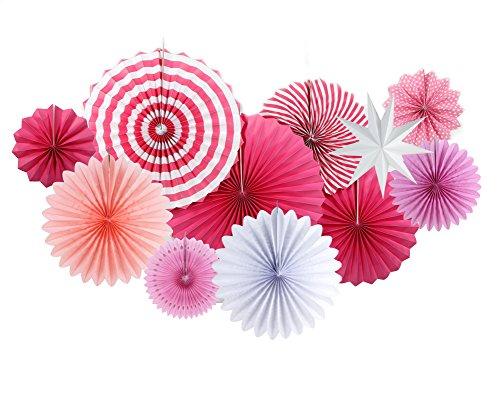 SUNBEAUTY Papier Rosetten Dekoration Papierstern Party Geburtstag Deko (Pink)