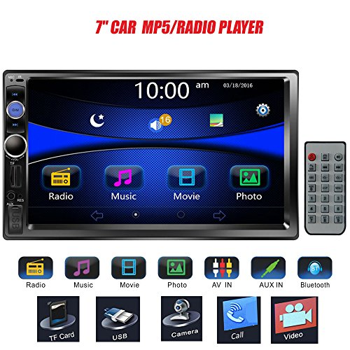 "Regetek 7"" Double DIN Touchscreen in Dash Bluetooth Car Stereo Mp3 Audio 1080P Video Player FM Radio/AM Radio/TF/USB/AUX-in + Remote Control"