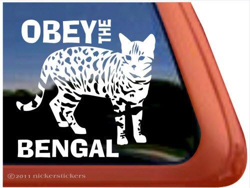 NickerStickers Obey The Bengal ~ Bengal Cat Vinyl Window Decal