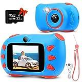 RUMIA Kinderkamera Digitalkamera Fotoapparat Kinder für Jungen Mädchen 1080P Fotokamera Bester Weihnachten Geburtstag Geschenke Spielzeug für 3 bis 12 Jahre mit 2 Zoll Bildschirm 32G TF-Karte (Blau)