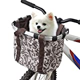URBEST Bike Basket, Small Pets Cat Dog Folding Carrier, Removable Bicycle Handlebar Front