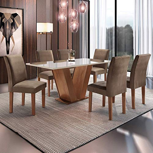 Conjunto Sala de Jantar Mesa Tampo de Vidro 6 Cadeiras Espanha Siena Móveis Chocolate