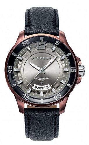 Viceroy 42221-45 - Reloj de caballero de cuarzo, correa de piel color negra, esfera gris
