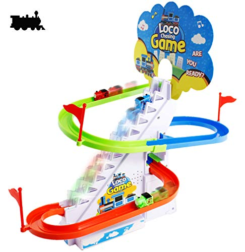 Haktoys Loco Train Chasing Playset | Playful Roller Coaster Fun Locomotive Race Track Set with LED Flashing Lights | Music On/Off Button for Quiet Play Safe and Durable Gift for Toddlers amp Kids
