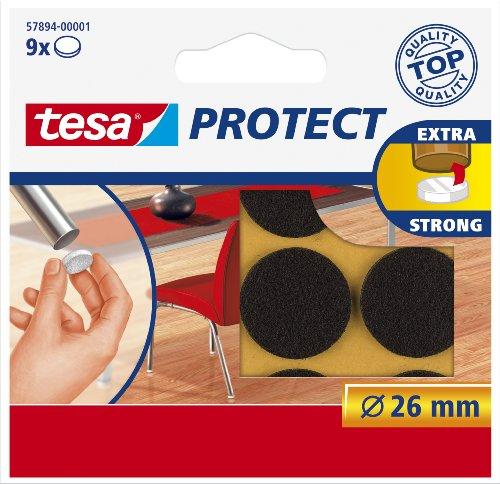 Tesa Protect viltglijder, rond, Ø26mm, bruin, 9 stuks
