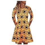 NHNKB Vestido de mujer para Halloween, con fantasma, calabaza y bruja, de manga larga, vestido de punto, informal, vestido midi plisado, D amarillo., L