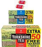 ヨークシャー紅茶キット、無料のロータスカラメルビスケット2gを含む2つの製品6gオリジナルレッドラベル210バッグとデカフ120バッグ強い人のためのストロングティー