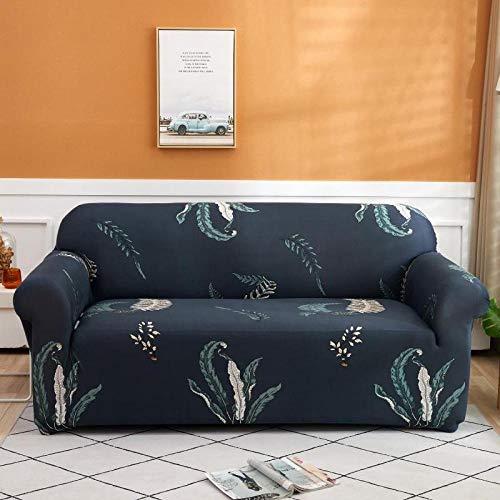 NIASGQW Funda para Sofá Elasticas de 1 2 3 4 Plazas Lmpresión Floral (Gratis 2 Funda de Cojines) Universal Muebles Fundas Decorativas para Sofás - Patrón de Hoja Gris