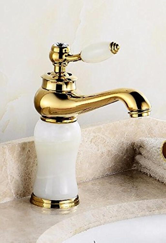 Bijjaladeva Wasserhahn Bad Wasserfall Mischbatterie WaschbeckenDas Kupfer Waschbecken Warmes und Kaltes Waschtisch Armatur Waschbecken Marmor grün Jade Gold Hahn J abgesenkt