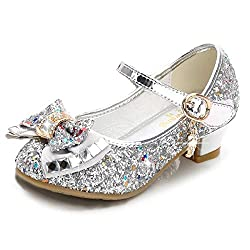 Silver/B1 Heels Mary Jane Princess Flower Girl Shoes