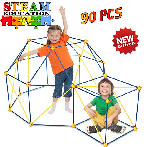 HOMOFY Play Tents Fort Building Kits for Kids - Fun Forts STEM Building Toys,Play Tent Fort Kit with 90 Pcs Foldable Playhouse Toy for Indoor & Outdoor Gifts for Kids 3 4 5 6 Year Olds Boys Girls