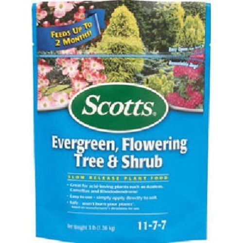 Scotts Continuous Release Evergreen Flowering Tree and Shrub Fertilizer, 3-Pound (Not Sold in Pinellas County, FL) (2 Pack)
