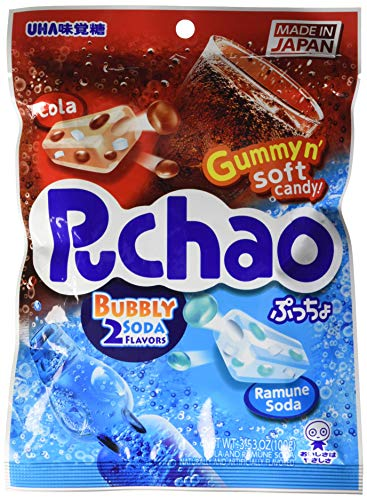 JFC International Inc. Puchao Soft Candy with Gummy bits | Cola and Ramune Soda Flavors | 3.53oz